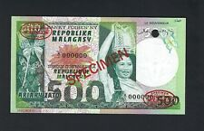 Madagascar 500 Francs = 100 Ariary ND(1974) P64s Specimen TDLR Uncirculated