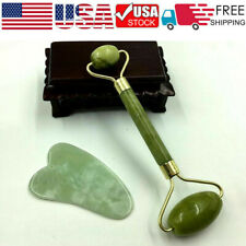 US Home Guasha Facial Jade Roller Face Thin+Body Gua Sha Board Massager Tool Set