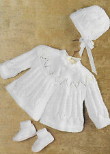 "Baby Matinee Coat and Bonnet Knitting Pattern 17"" - 19"" 4 Ply 189"