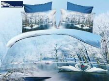 Bed Spread - Queen Size Quilt Cover Set 3pc Swan Lake Winter