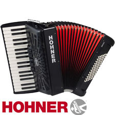 Hohner Chromatic Piano Accordion Bravo III 72, Jet Black, with Gig Bag & Straps