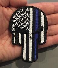 THIN BLUE LINE Punisher SKULL SHAPE FLAG Embroider Hk/Lp Morale Tactical Patch