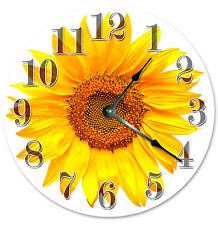 YELLOW SUNFLOWER CLOCK Large 10.5 inch Round Wall Clock 2110