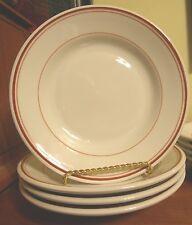 "B.I.A/BIA CORDON BLEU FRANCE WHITE W/ RED RIMS 8.5"" SALAD/BREAD PLATES (4)"