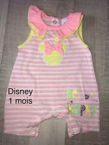 Disney 1 MOIS FILLE  : Barboteuse ÉTÉ Minnie  TBE