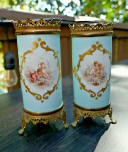 Antique Set of Brass/Metal and Porcelain Hand Painted Cherub Vases Blue Gold