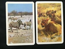 Vintage Swap / Playing Card Pair - Zebra and Lions - African Animals