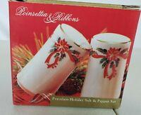 Poinsettia & Ribbons Christmas Holiday Salt and Pepper Shakers NIB