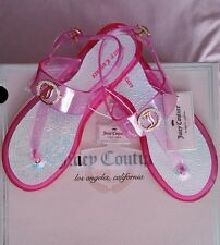 NWT JUICY COUTURE Clear Pink Fuchsia JELLY-T-STRAP Flip Flop Sandals size M 7-8