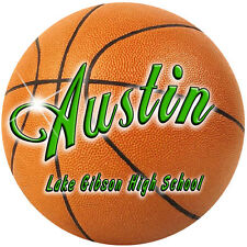 """2 Basketball Decals Stickers Personalize Gifts Girls Boys Any Text Any Color 4"""""""