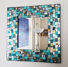 STUNNING Quality Turquoise & Gold Mosaic Square Wall Mirror