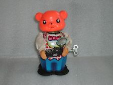 Vintage MS 575 Tin Litho Wind-Up Toy Photographer Bear with Camera,Made in China