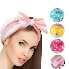 Big Bow Soft Dot Striped Towel Hair Band Wrap Headband For Make Up Bath Spa HOT