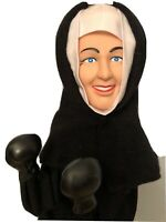"Boxing Nun Punching Hand Puppet Toy  Vintage 13"" Works GREAT 1990s"