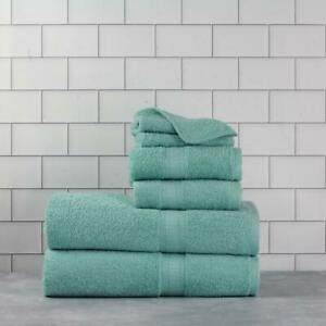 Basic Bath Set Collection Cotton Towel 6 Pieces Aqua