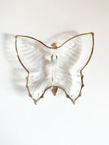 Clear Glass Decorative Butterfly Shaped  Dish/ Plate with Gold Trim