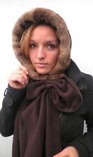 Gorro Mujer Con Bufanda capuchón negro marrón de invierno Sombrero Para Dama