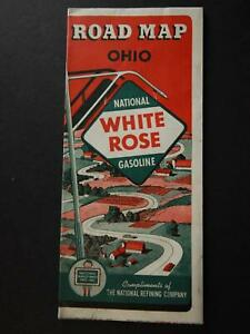 1940 WHITE ROSE GASOLINE TRAVEL MAP of OHIO (NEW OLD STOCK)~