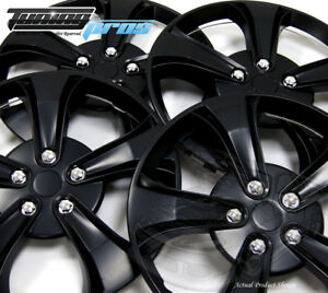 """Snap-On Hubcap 14"""" Inch Wheel Rim Skin Cover 4pcs Matte Black - 14 Inches #616"""