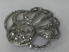 Marcasite Swirls Design Brooch Pin Vintage 1940s Solid Sterling Silver Sparkling