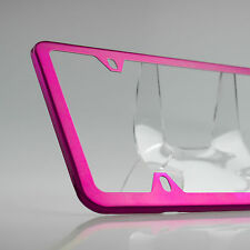 Slim 4 Holes Powder Coated Hot Pink Stainless Steel License Plate Frame Holder