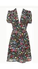 Topshop Tropical Floral Print Open Back Vtg 20s 40s Summer Tea Dress 6 2 34