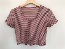 American Apparel Red White Blue striped crop top. Large. Made in USA
