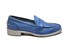 Mocassini College Loafers Scarpe Donna 36 Blu Jeans Vera Pelle Made Italy Estivi