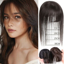 Silk Base Human Hair Extensions Clip in Women Topper Top Hairpiece with Bangs