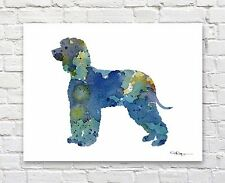 Irish Water Spaniel Abstract Watercolor Painting Art Print by Artist Dj Rogers