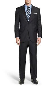 HART SCHAFFNER MARX Men Classic Fit Wool Suit Set Black Jacket 44L/Pants 38x40