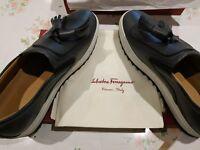 Salvatore Ferragamo LUCCA New AUTHENTIC Dark Silver Leather Men's Retail $599 US