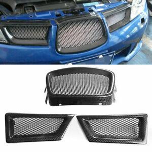 3x Front Mesh Grill Grille Carbon Fiber for Subaru Impreza 9th WRX STI 06-07 ST