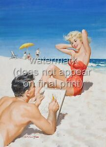 ARTHUR SARNOFF Pin Up Poster Or Canvas Print Sexy Girl In Red Dress At Seaside