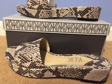 "NEW Womens Klik "" Charli "" Slip On Platform Snake Skin Print Shoe 8.5"