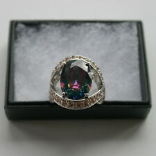 Beautiful 925 Silver Ring With Faceted Mystic Topaz Grams 80 Size O In Gift Box