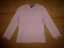 Women's Boden Multi Stripe Floral ¾ Sleeve Ruffle Neck Cotton Top Size L UK 14