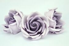 Set of 3 vintage lila ombre sugar paste rose, handmade, topper,wedding edible