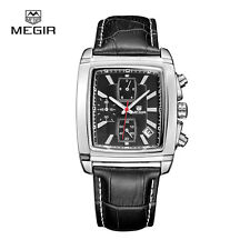 MEGIR 2028 Leather Quartz Watches Men Strap Waterproof Wristwatch Black