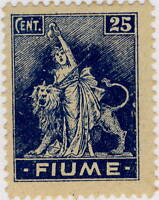 FIUME - 1919 Mi.38 (Martinas A39) 25c Blue on Rough-Surfaced Grey Paper - Mint*