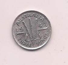 1943-S Australia Silver Three Pence--Mint Luster!!
