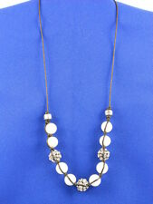 Fossil Brand Silvertone White Bling Leather Necklace