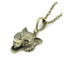 Quality Cast Brass Wolf Werewolf Pendant Necklace - Bronze Tone Long Chain