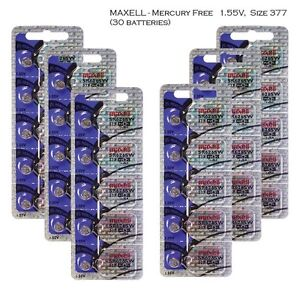 Maxell 377 SR626SW Silver Oxide Watch Batteries (30 batteries)