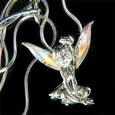 Fairy w Swarovski Crystal AB Tinkerbell ANGEL Wings Charm Pendant Chain Necklace