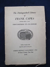 Auction Catalogue of FRANK CAPRA'S FABULOUS RARE BOOK COLLECTION 110 pages