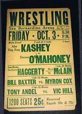 RARE 1940's San Bernardino Wrestling poster Kashey Danno O'Mahoney McLain Baxter
