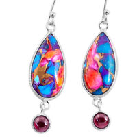 12.57cts Spiny Oyster Arizona Turquoise Garnet 925 Silver Dangle Earrings R62440