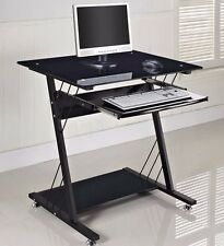 Computer Desk PC Table Black Glass Small Med Home Office Furniture Gloss Shelf