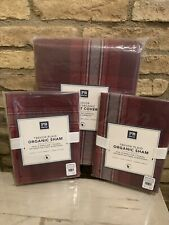 Pottery Barn Teen Trevor Maroon Plaid Full Queen Duvet Cover Shams Bedding Set